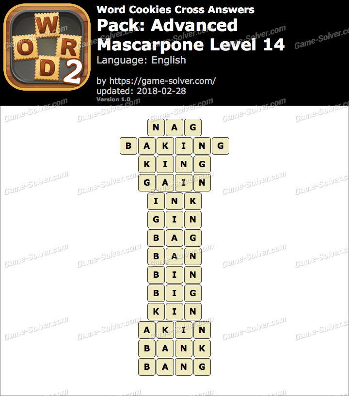 Word Cookies Cross Advanced-Mascarpone Level 14 Answers