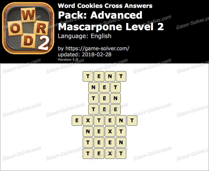 Word Cookies Cross Advanced-Mascarpone Level 2 Answers