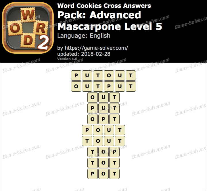 Word Cookies Cross Advanced-Mascarpone Level 5 Answers