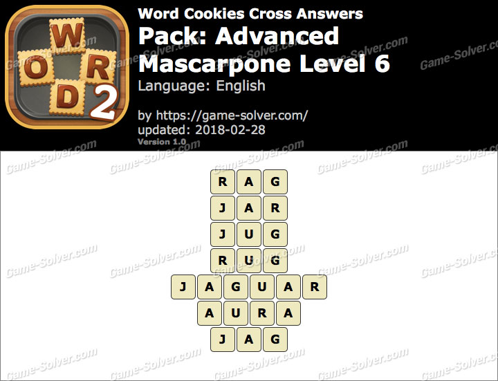 Word Cookies Cross Advanced-Mascarpone Level 6 Answers
