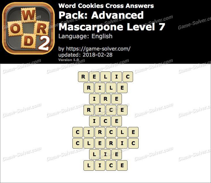 Word Cookies Cross Advanced-Mascarpone Level 7 Answers