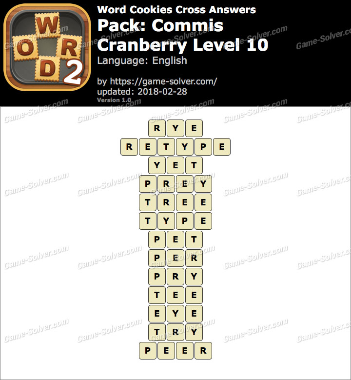 Word Cookies Cross Commis-Cranberry Level 10 Answers