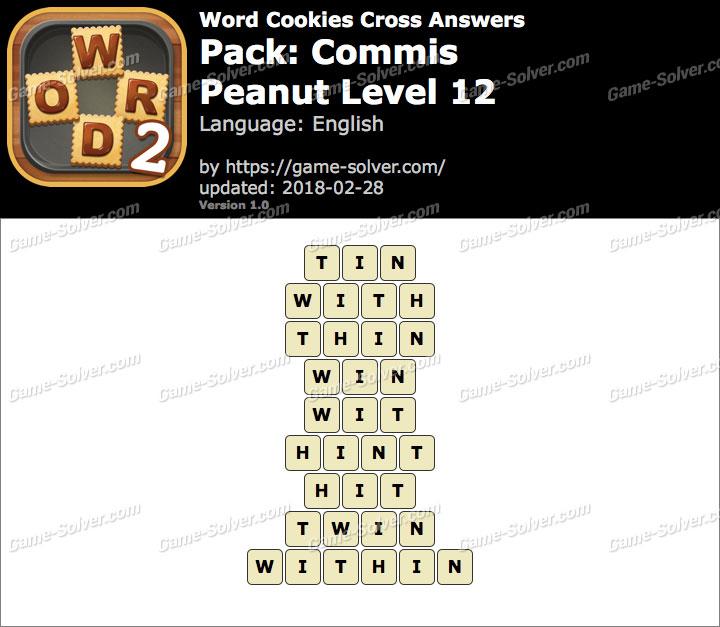 Word Cookies Cross Commis-Peanut Level 12 Answers