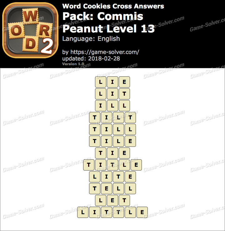 Word Cookies Cross Commis-Peanut Level 13 Answers