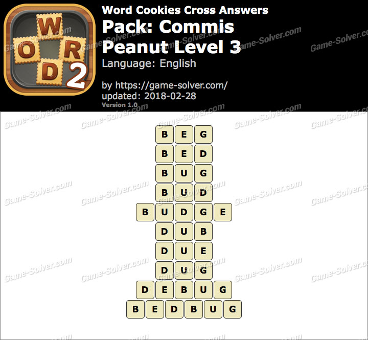 Word Cookies Cross Commis-Peanut Level 3 Answers