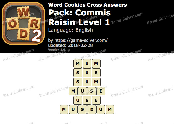 Word Cookies Cross Commis-Raisin Level 1 Answers