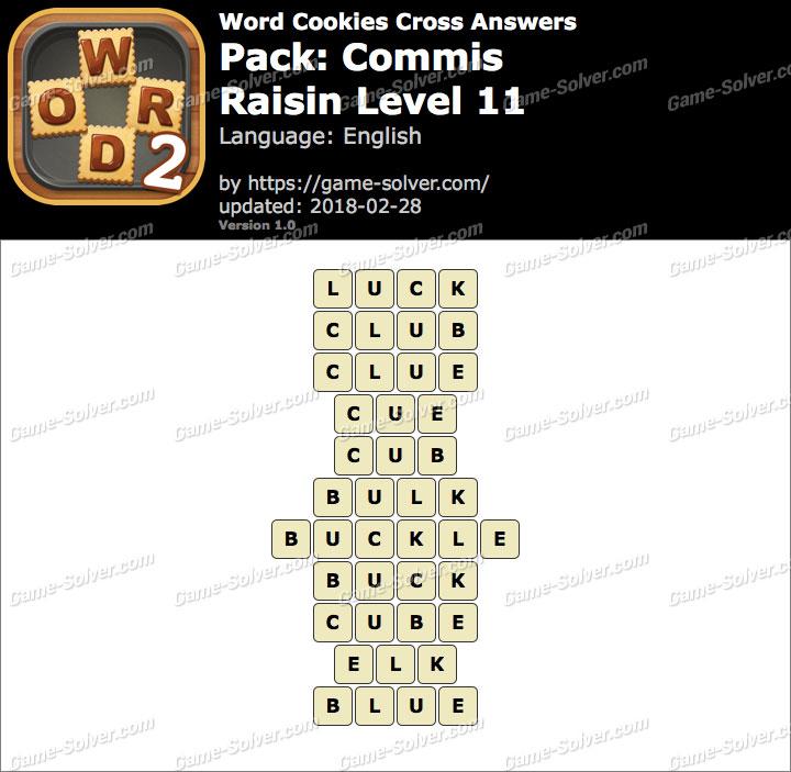 Word Cookies Cross Commis-Raisin Level 11 Answers