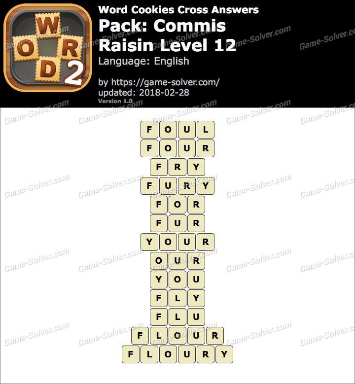 Word Cookies Cross Commis-Raisin Level 12 Answers