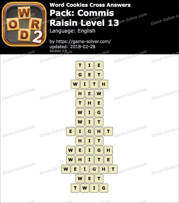 Word Cookies Cross Commis-Raisin Level 13 Answers