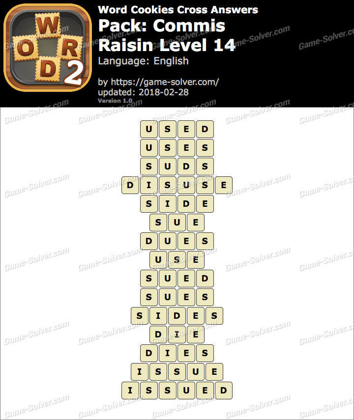 Word Cookies Cross Commis-Raisin Level 14 Answers