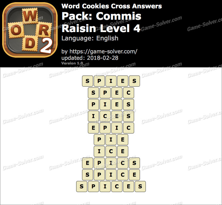 Word Cookies Cross Commis-Raisin Level 4 Answers