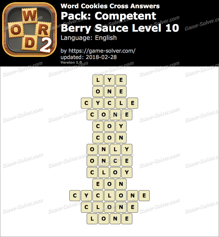 Word Cookies Cross Competent-Berry Sauce Level 10 Answers