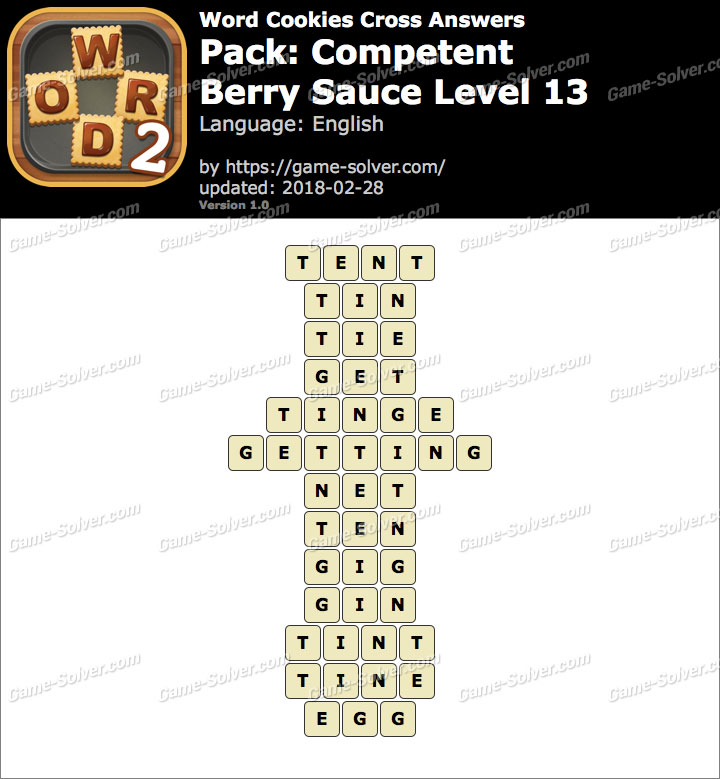 Word Cookies Cross Competent-Berry Sauce Level 13 Answers