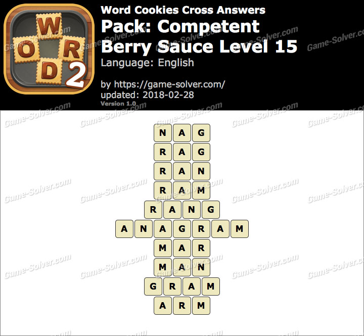 Word Cookies Cross Competent-Berry Sauce Level 15 Answers