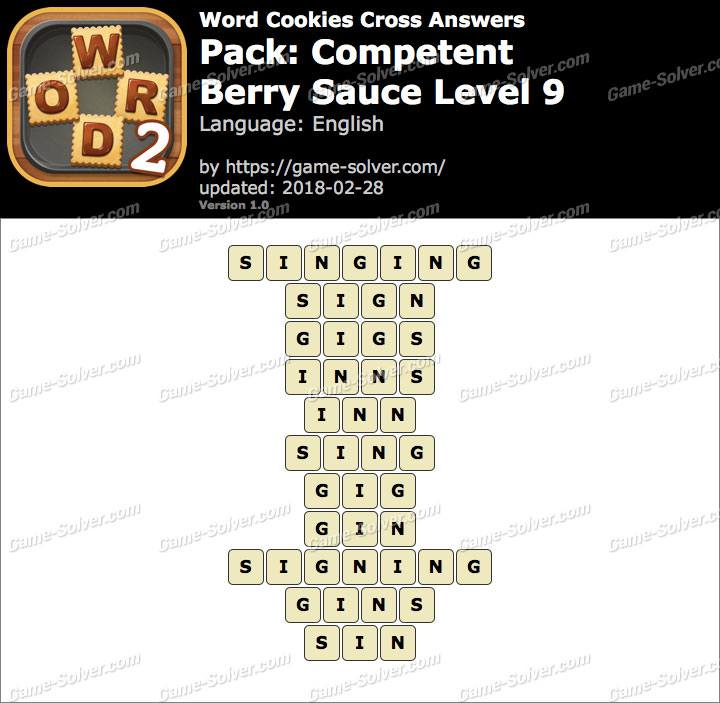 Word Cookies Cross Competent-Berry Sauce Level 9 Answers
