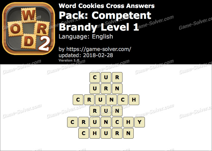 Word Cookies Cross Competent-Brandy Level 1 Answers