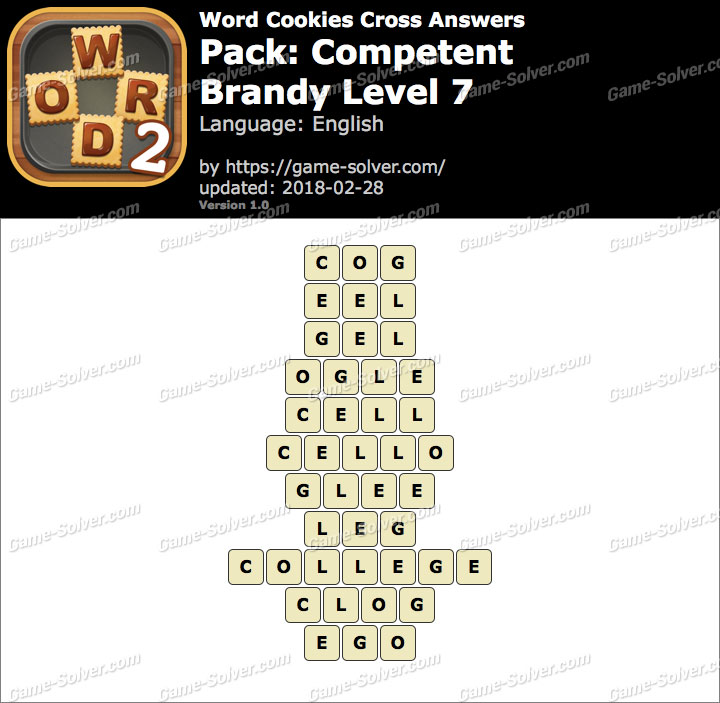 Word Cookies Cross Competent-Brandy Level 7 Answers