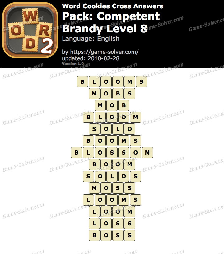 Word Cookies Cross Competent-Brandy Level 8 Answers