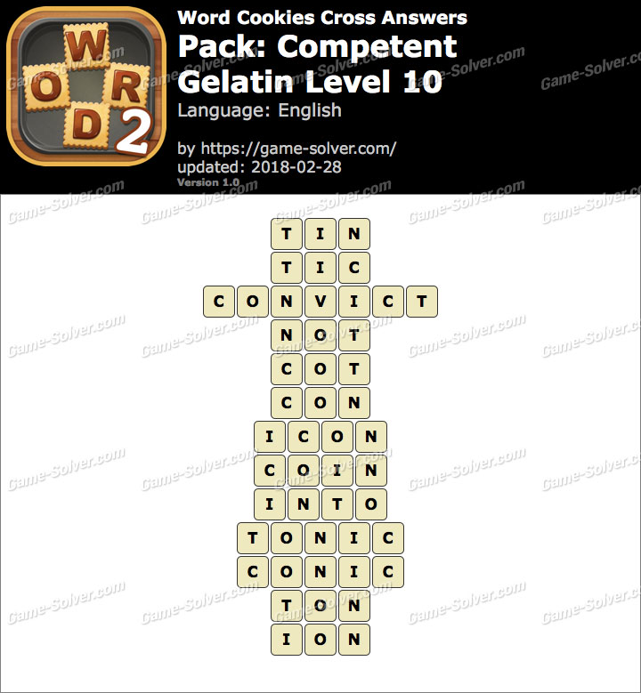 Word Cookies Cross Competent-Gelatin Level 10 Answers