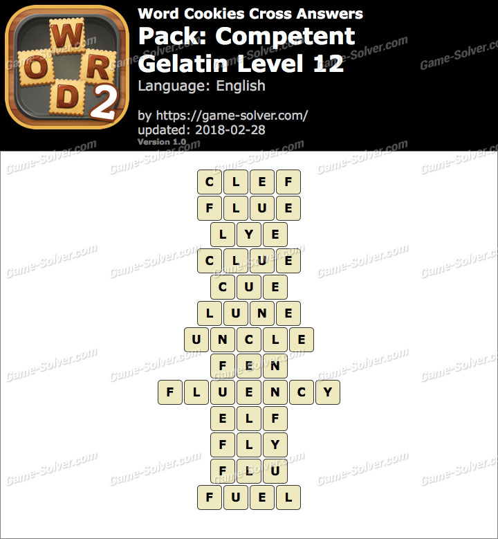 Word Cookies Cross Competent-Gelatin Level 12 Answers
