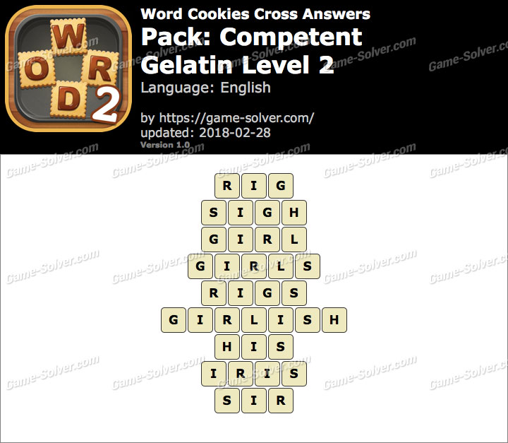 Word Cookies Cross Competent-Gelatin Level 2 Answers