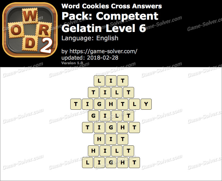 Word Cookies Cross Competent-Gelatin Level 6 Answers