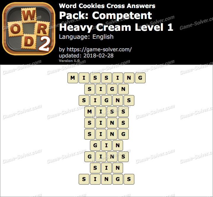 Word Cookies Cross Competent-Heavy Cream Level 1 Answers