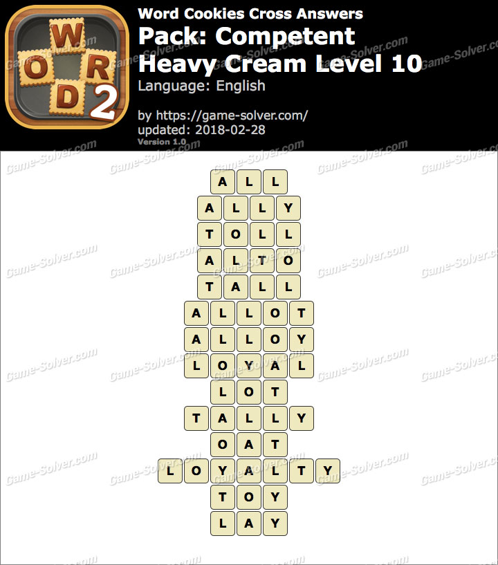 Word Cookies Cross Competent-Heavy Cream Level 10 Answers