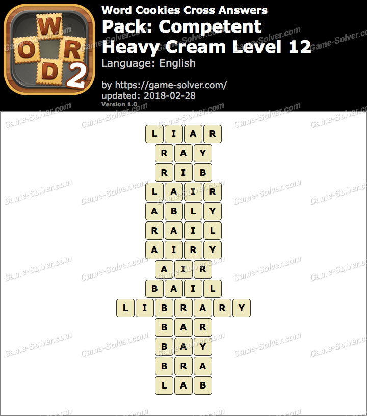 Word Cookies Cross Competent-Heavy Cream Level 12 Answers