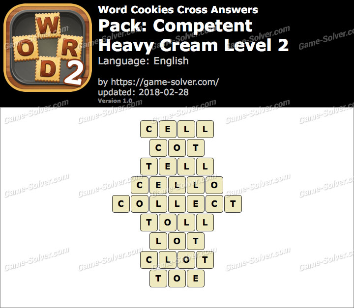 Word Cookies Cross Competent-Heavy Cream Level 2 Answers
