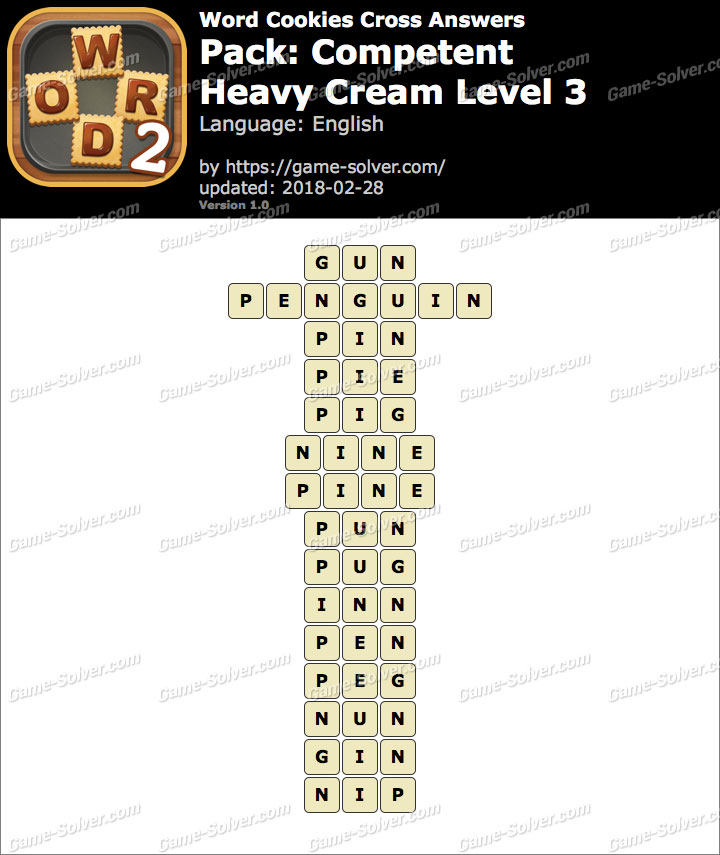 Word Cookies Cross Competent-Heavy Cream Level 3 Answers