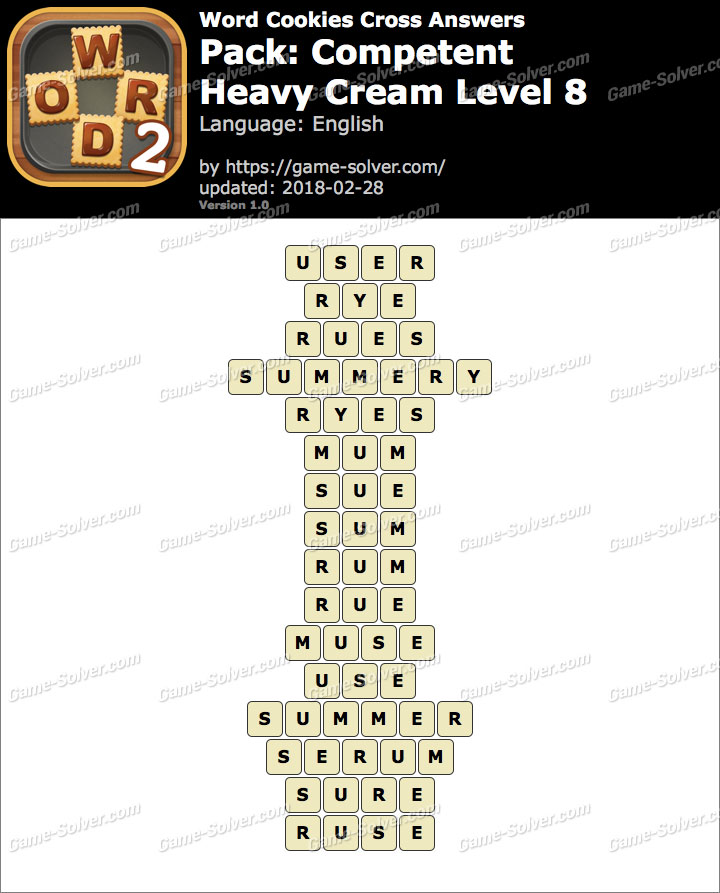 Word Cookies Cross Competent-Heavy Cream Level 8 Answers