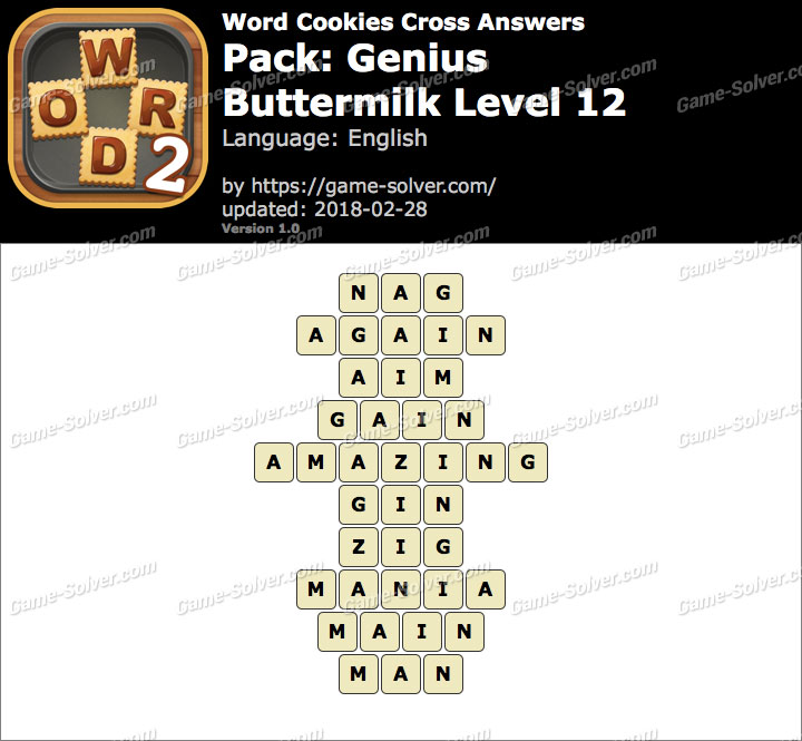 Word Cookies Cross Genius-Buttermilk Level 12 Answers