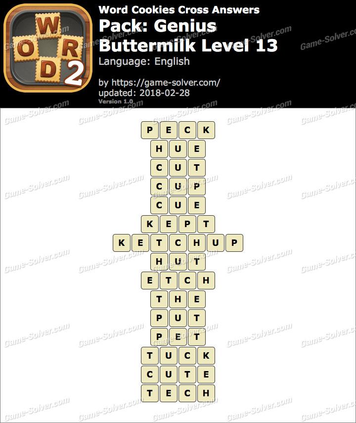 Word Cookies Cross Genius-Buttermilk Level 13 Answers
