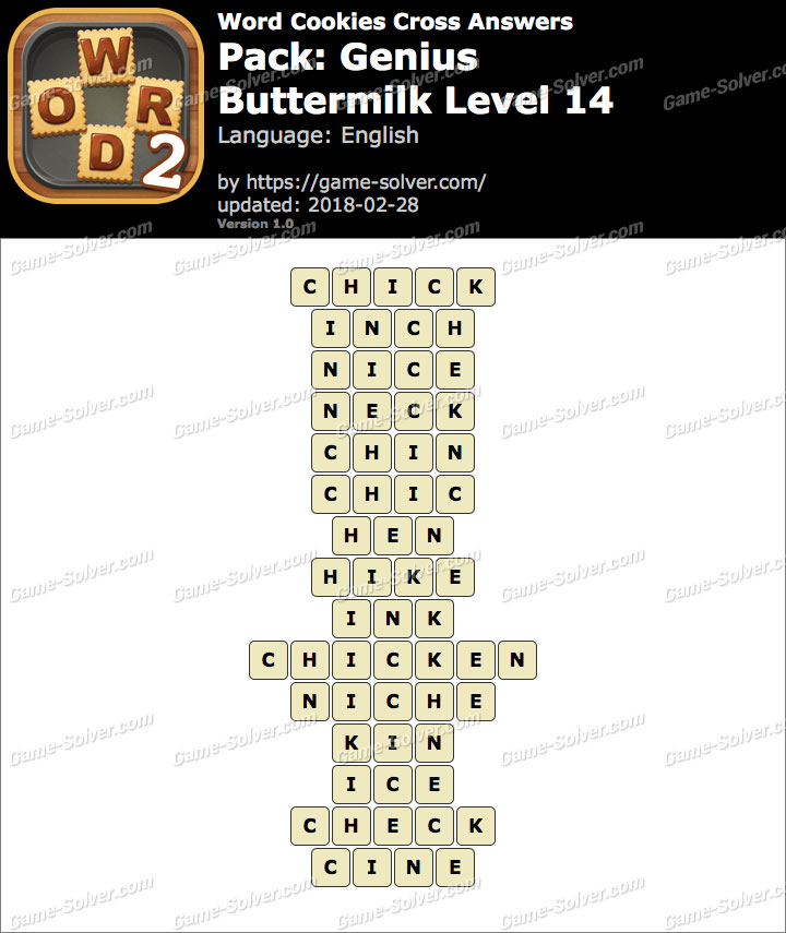 Word Cookies Cross Genius-Buttermilk Level 14 Answers