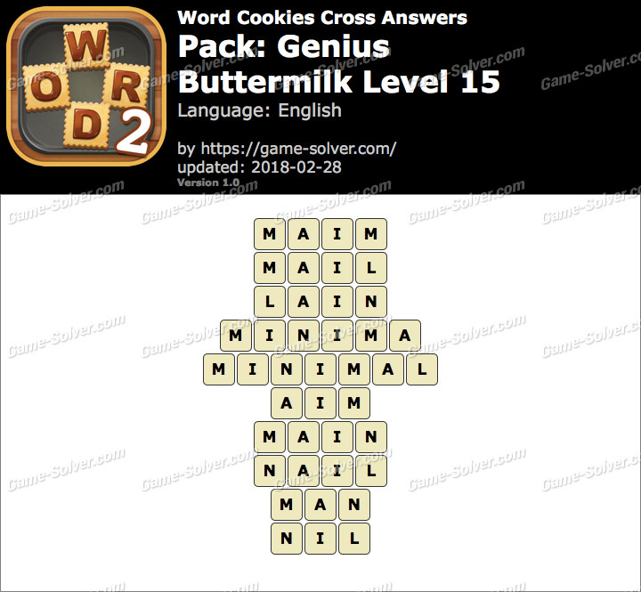 Word Cookies Cross Genius-Buttermilk Level 15 Answers