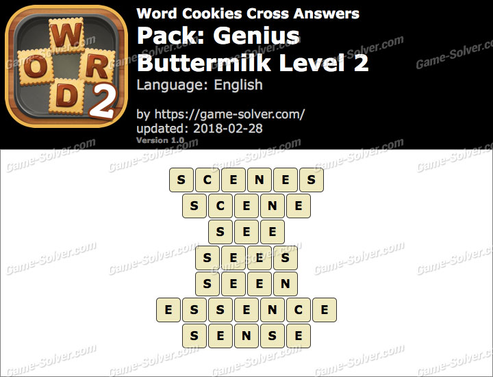 Word Cookies Cross Genius-Buttermilk Level 2 Answers