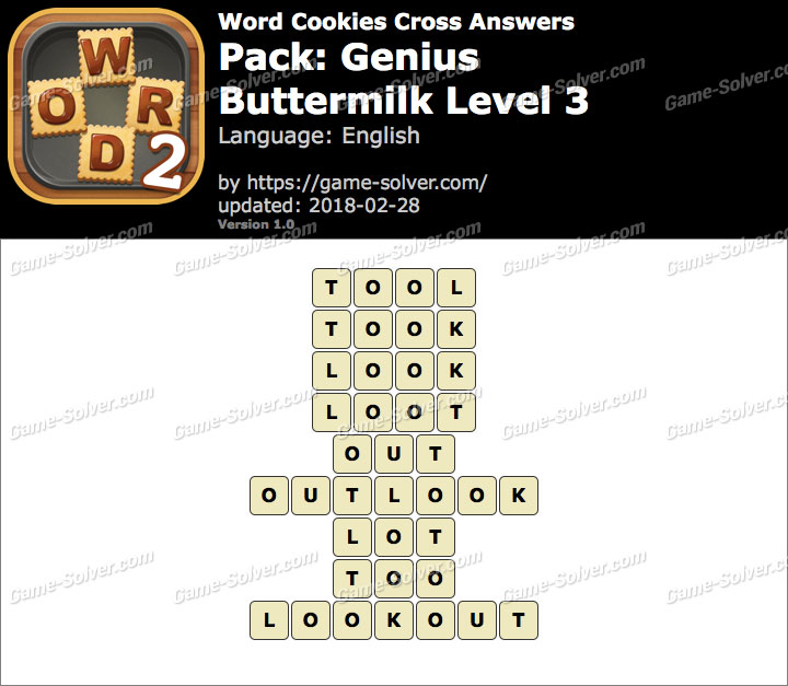 Word Cookies Cross Genius-Buttermilk Level 3 Answers