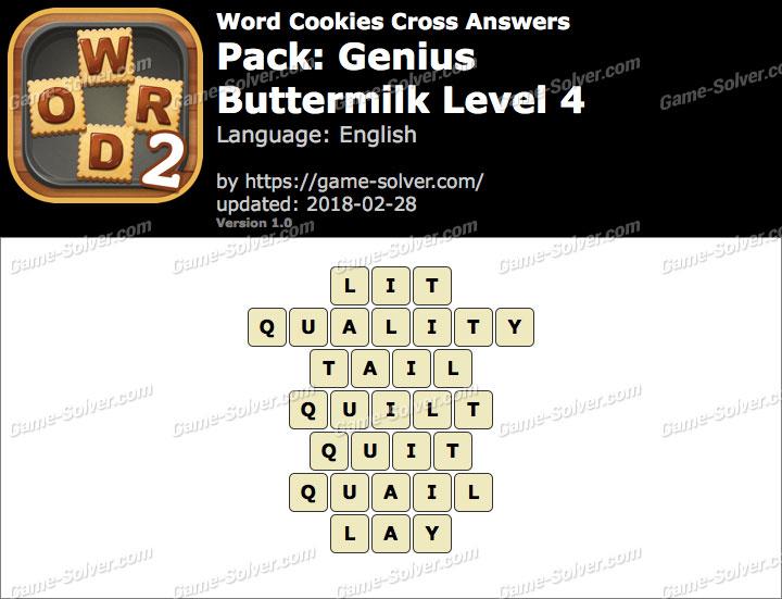 Word Cookies Cross Genius-Buttermilk Level 4 Answers