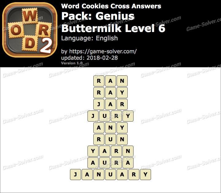 Word Cookies Cross Genius-Buttermilk Level 6 Answers