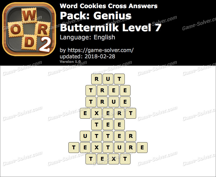 Word Cookies Cross Genius-Buttermilk Level 7 Answers