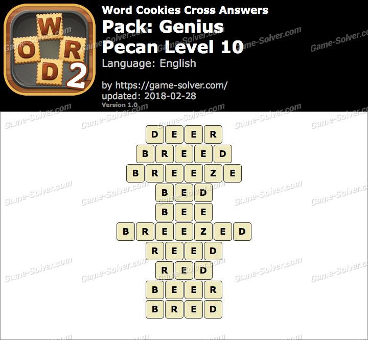 Word Cookies Cross Genius-Pecan Level 10 Answers
