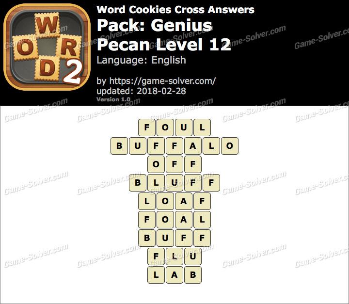 Word Cookies Cross Genius-Pecan Level 12 Answers