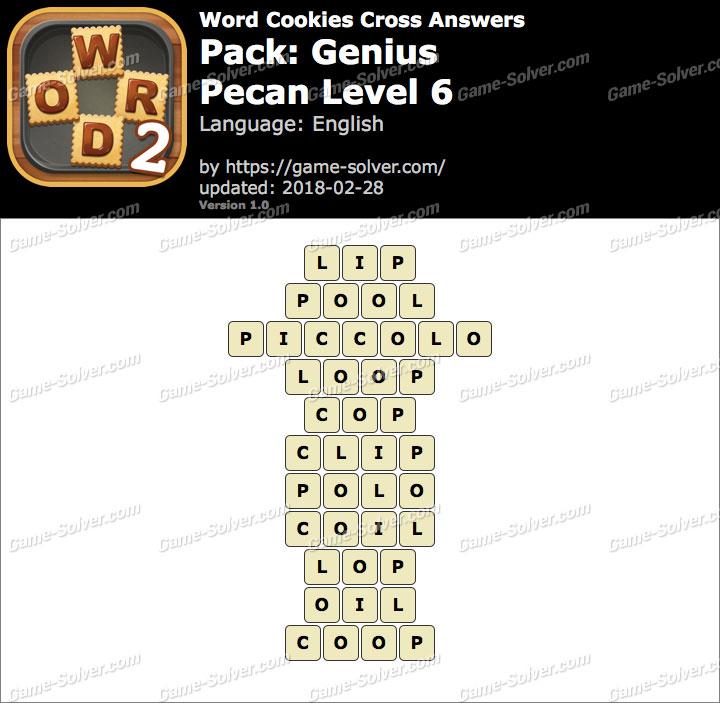 Word Cookies Cross Genius-Pecan Level 6 Answers