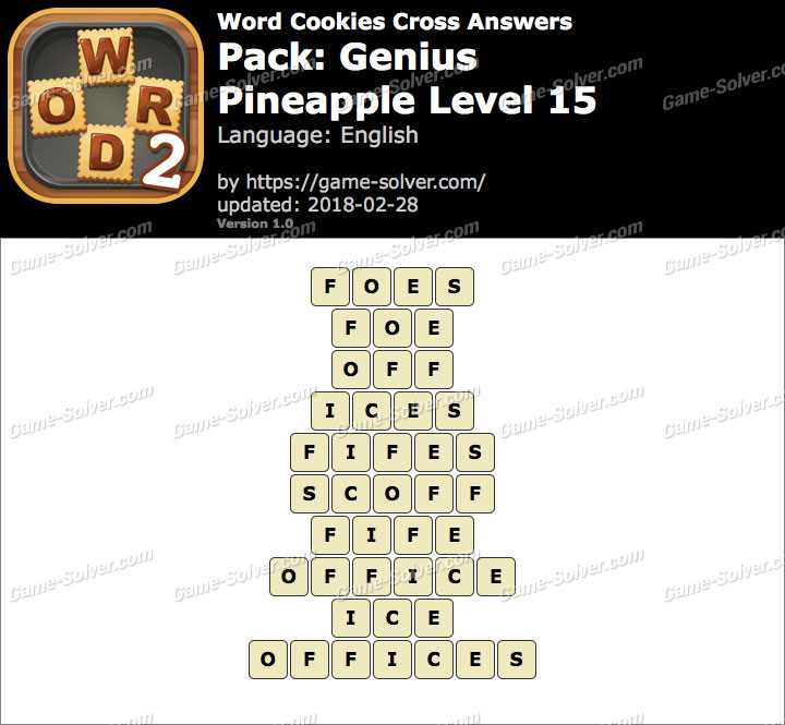 Word Cookies Cross Genius-Pineapple Level 15 Answers