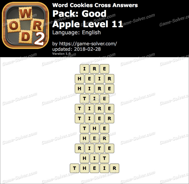 Word Cookies Cross Good-Apple Level 11 Answers