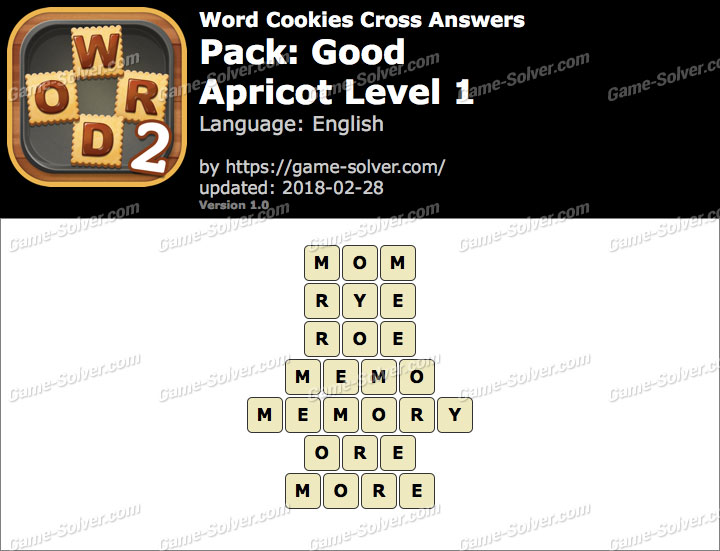 Word Cookies Cross Good-Apricot Level 1 Answers