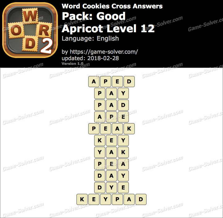 Word Cookies Cross Good-Apricot Level 12 Answers