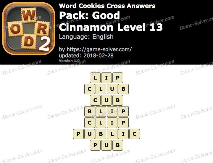 Word Cookies Cross Good-Cinnamon Level 13 Answers