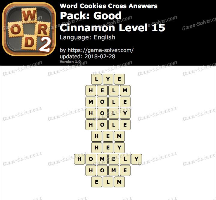 Word Cookies Cross Good-Cinnamon Level 15 Answers
